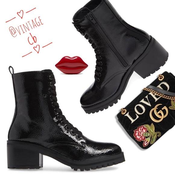 Black Patent Glossy Brazil Laceup Boots